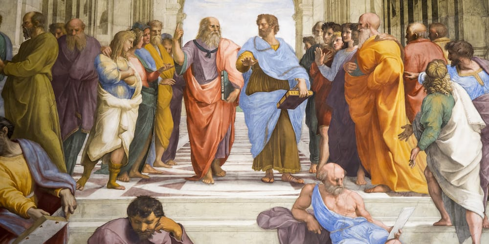 Platon (links) und Aristoteles (rechts)